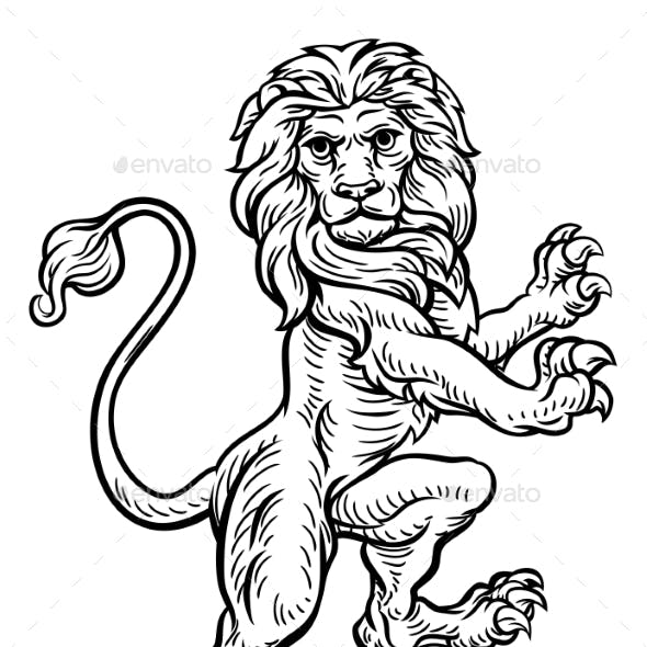 Lion Standing Rampant on Hind Legs