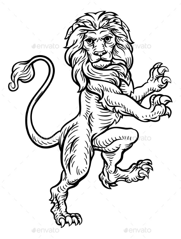 Lion Standing Rampant on Hind Legs - Animals Characters