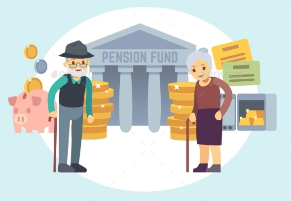 Senior People Saving Pension Money - People Characters