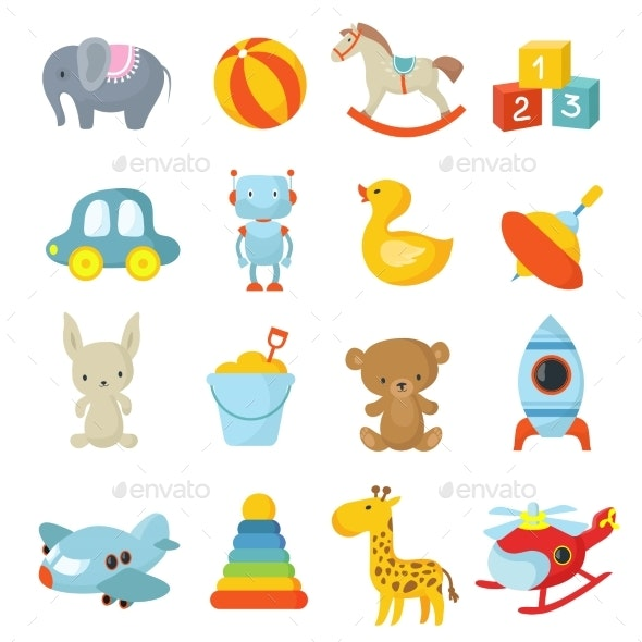 Cartoon Children Toys Vector Icons Collection - Man-made Objects Objects