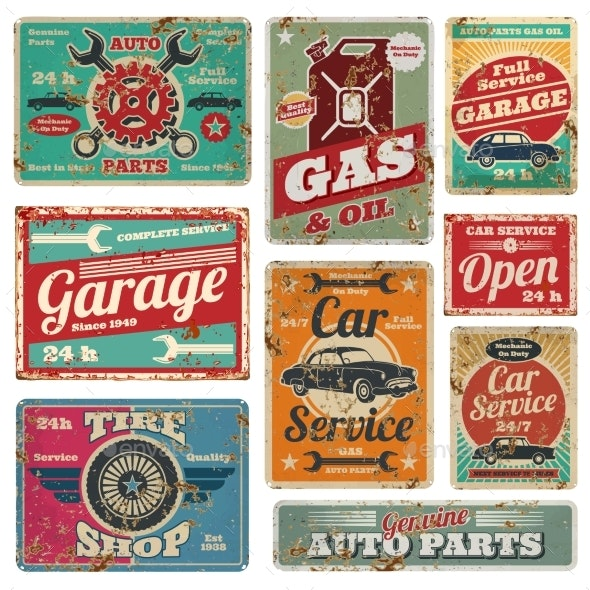 Vintage Car Service and Gas Station Vector Metal - Backgrounds Decorative
