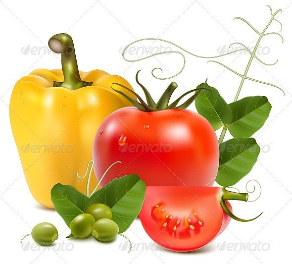 Tomato, Yellow Pepper and Green Peas - Food Objects
