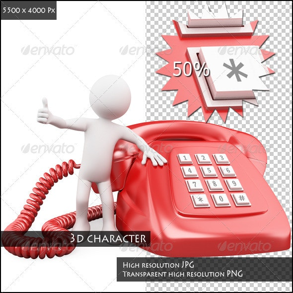 3D Man with a Huge Red Phone - Characters 3D Renders