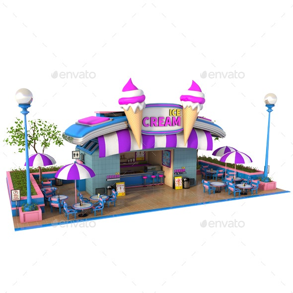 Cartoon Ice Cream Store - Architecture 3D Renders