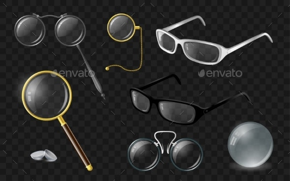 Set of Optics - Modern Vector Realistic Isolated - Man-made Objects Objects