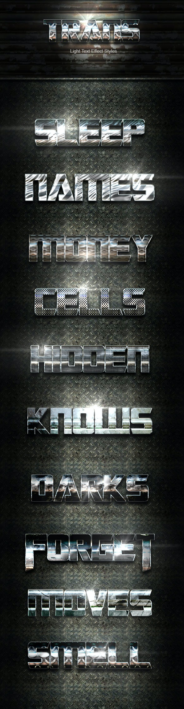 Trans Steel Text Effect V01 - Text Effects Actions