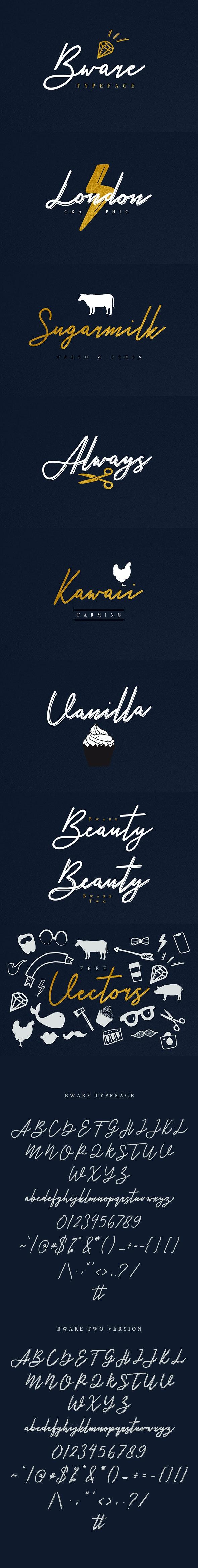 Bware Typeface - Calligraphy Script