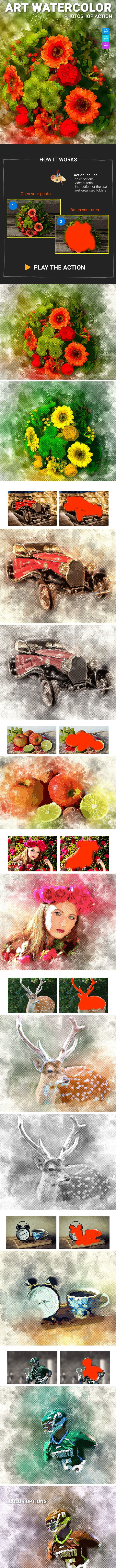 Art Watercolor Photoshop Action - Photo Effects Actions