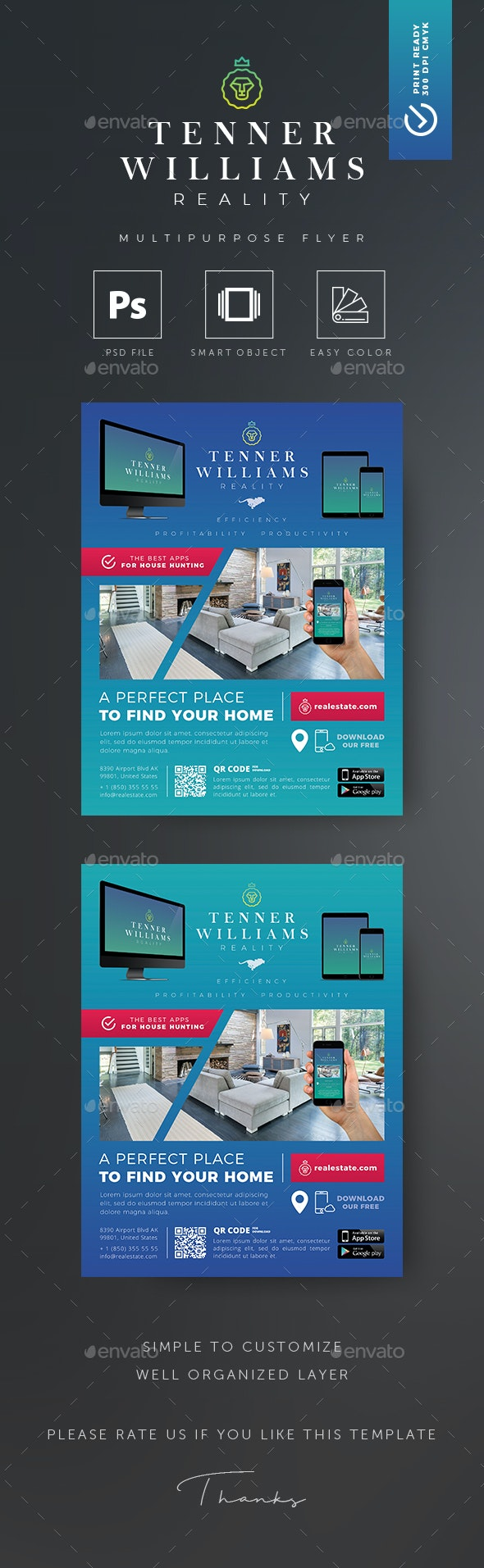 Real Estate App Flyer - Flyers Print Templates