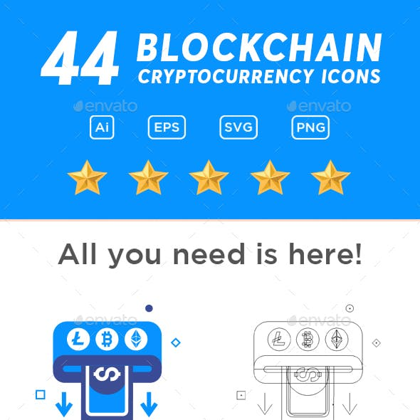 44 Blockchain Cryptocurrency Icons