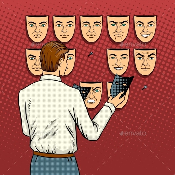 Man Chooses the Mask Pop Art Vector Illustration - People Characters