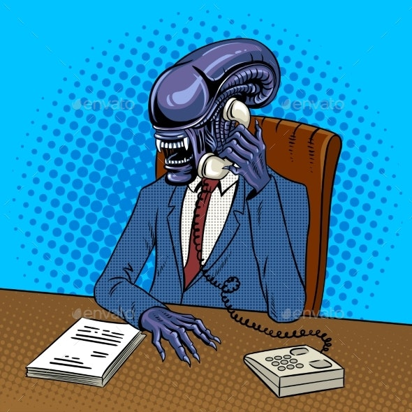 Alien Boss Talking By Phone Pop Art Vector - Miscellaneous Characters