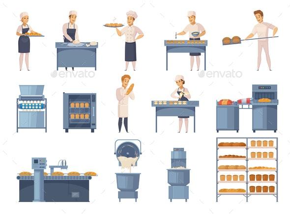 Bakery Cartoon Icons Set - Food Objects