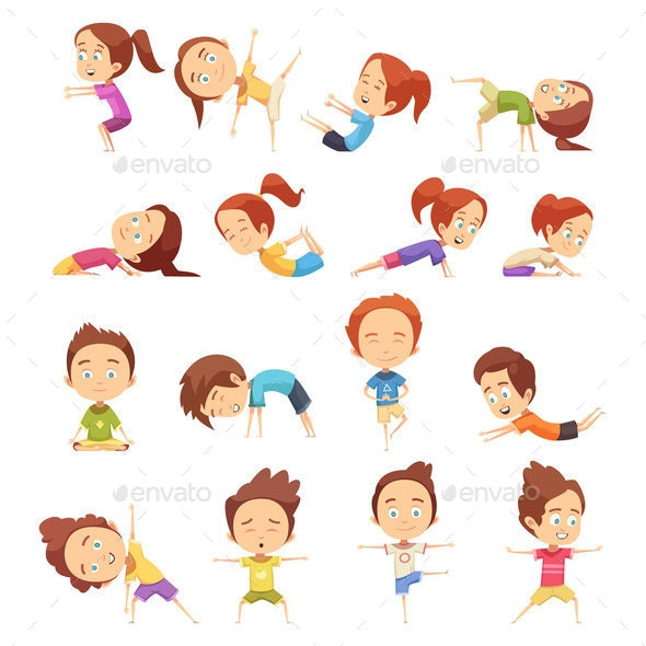 Kids Yoga Decorative Icons Set - People Characters