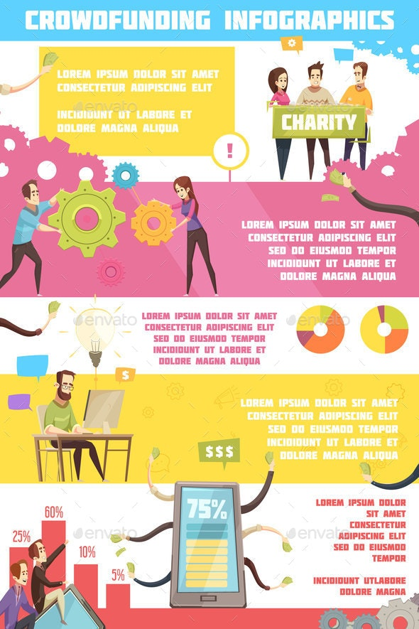 Crowdfunding Infographics Layout - People Characters