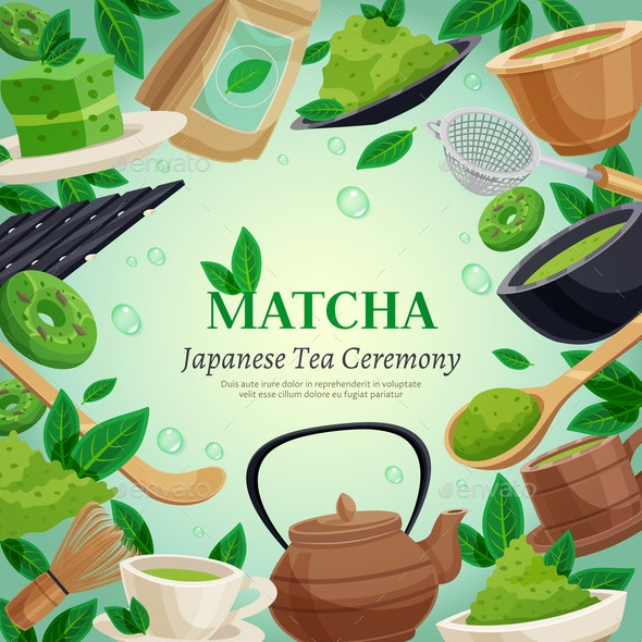 Matcha Tea Ceremony Background Poster - Food Objects
