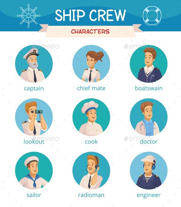 Ship Crew Characters Icons Set - Miscellaneous Vectors