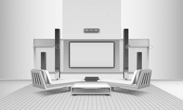 Home Cinema Interior In White Tones - Miscellaneous Vectors