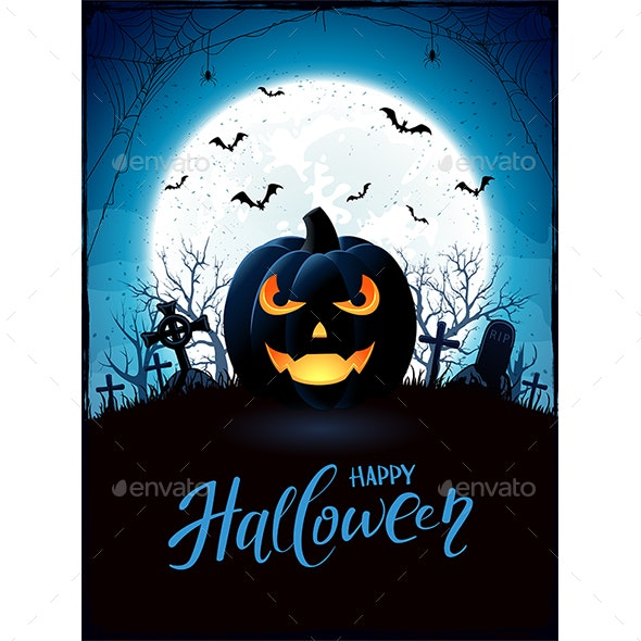 Halloween Theme with Jack O Lantern on Cemetery - Halloween Seasons/Holidays