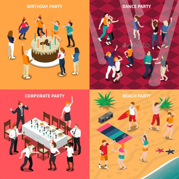 People At Party Isometric Design Concept
