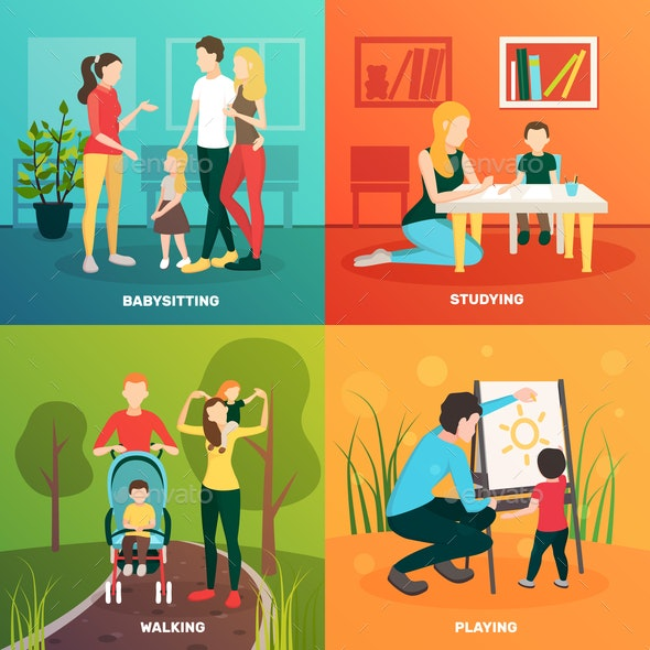 Child Nurse Family Design Concept - People Characters