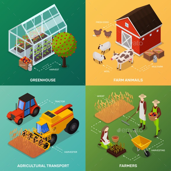 Organic Farming Design Concept - Animals Characters