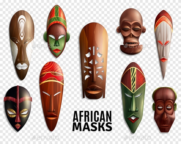 African Masks Transparent Icon Set - Religion Conceptual