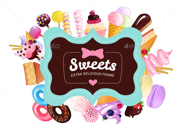 Trendy Sweets Frame Background - Food Objects