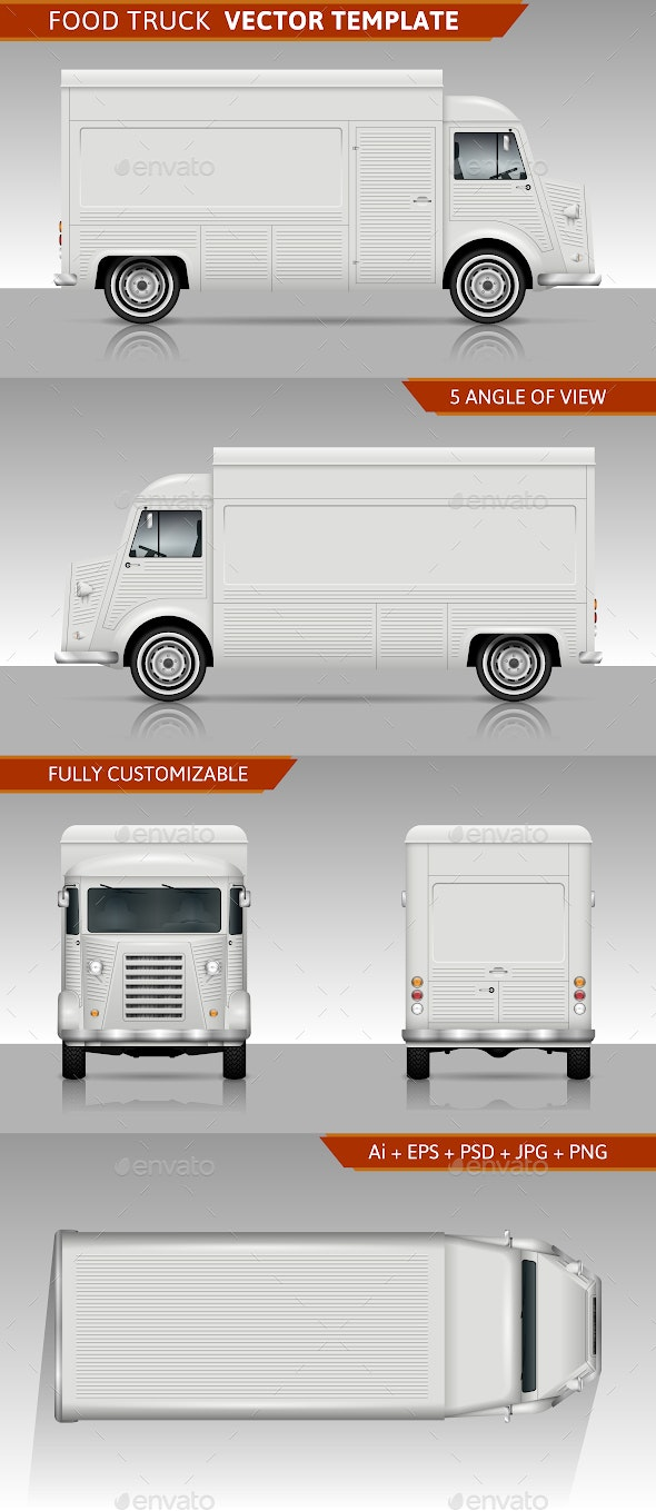 Retro Food Truck Vector Template - Man-made Objects Objects