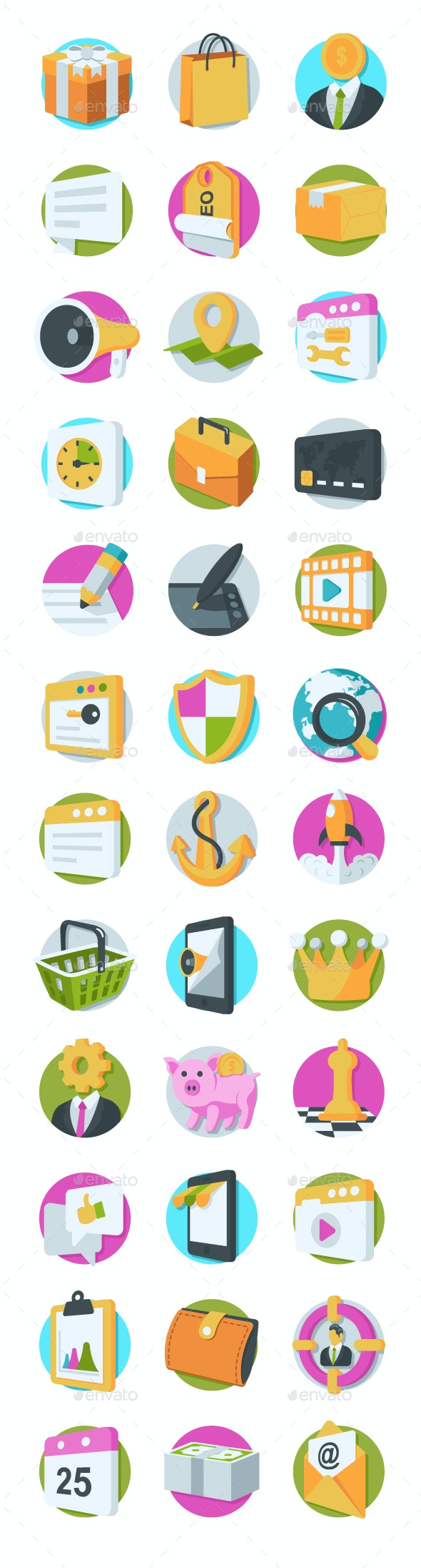 36 SEO and Marketing Icons - Icons