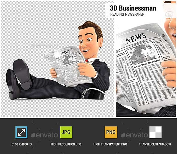 3D Businessman Reading Newspaper with Feet on Desk - Characters 3D Renders