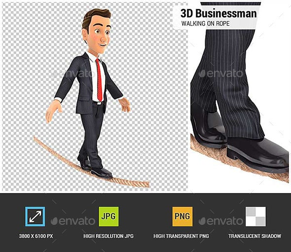 3D Businessman Walking on a Rope - Characters 3D Renders