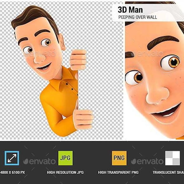 3D Man Peeping Over Blank Wall