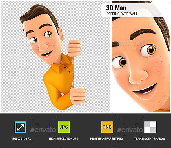 3D Man Peeping Over Blank Wall - Characters 3D Renders