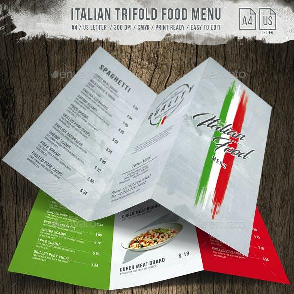 Italian Light A4 - US Letter Trifold Food Menu