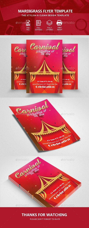 Mardi Grass Flyer Template - Clubs & Parties Events