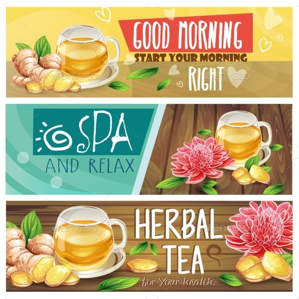 Relaxing Morning Herbal Tea Vector Banners Set - Food Objects