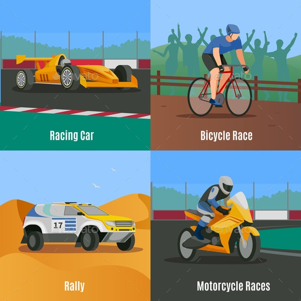 Racing Flat Design Concept - Sports/Activity Conceptual
