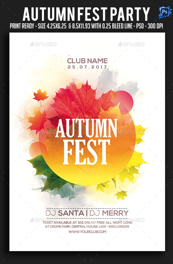 Autumn Fest Party Flyer - Clubs & Parties Events