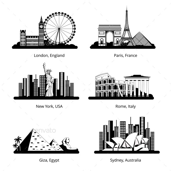 Silhouette Set with Panoramas of Famous Cities - Buildings Objects