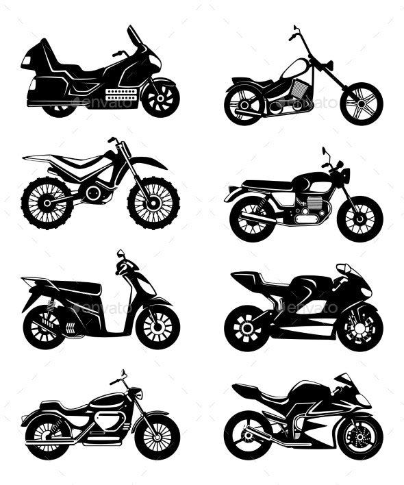 Silhouette of Motorcycles - Man-made Objects Objects