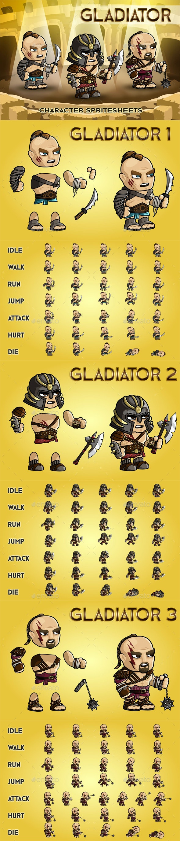 Gladiator 2D Game Character Sprite Sheet - Sprites Game Assets
