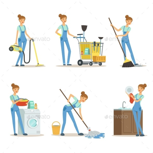 Professional Cleaning Service - People Characters