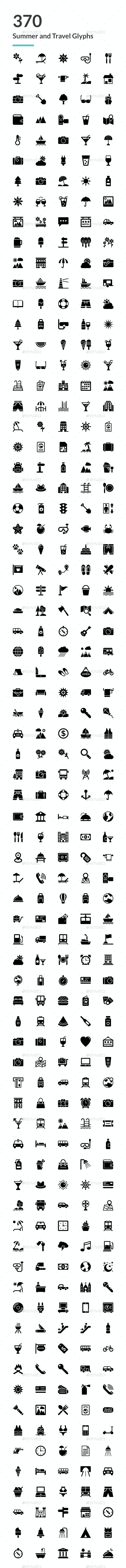 370 Summer and Travel Glyph Icons - Icons