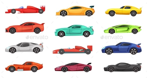 Different Sport Cars Isolated on White - Man-made Objects Objects