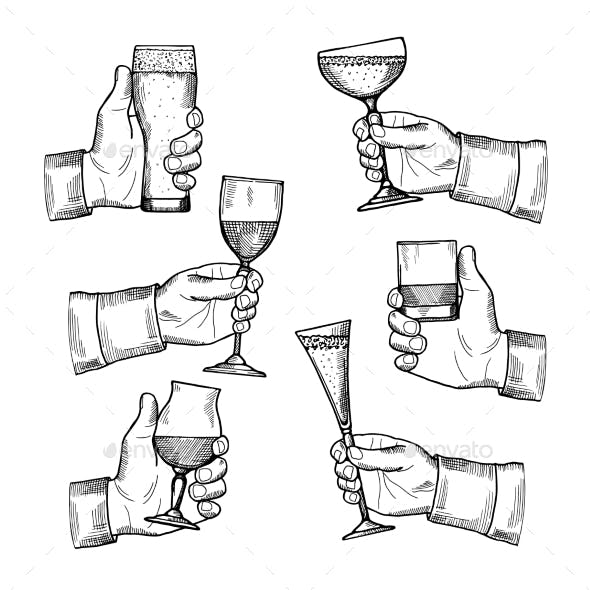Illustrations of Different Alcoholic Drinks