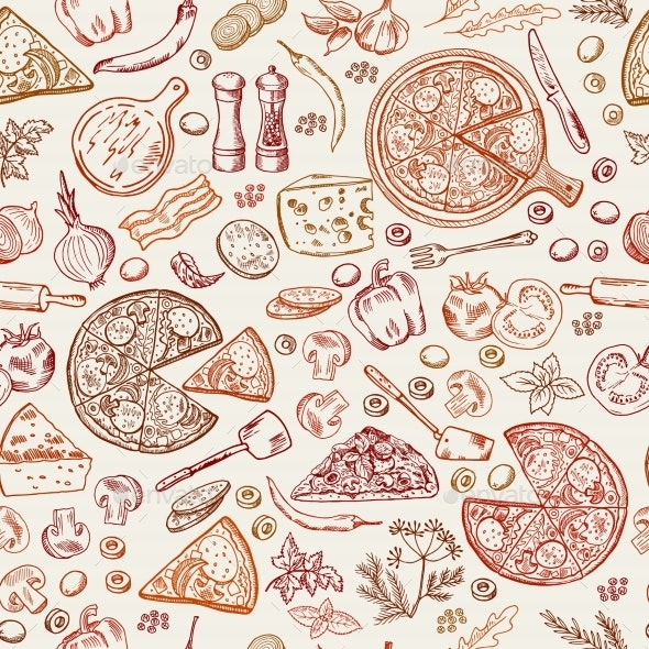 Seamless Pattern with Classical Italian Foods - Backgrounds Decorative