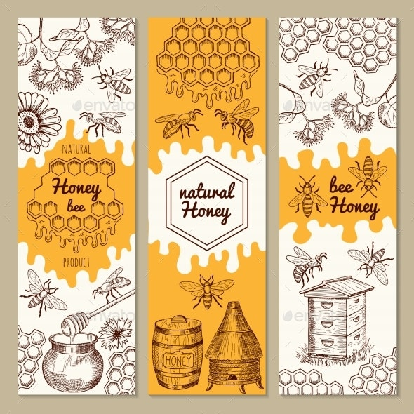 Banners with Honey Product Pictures - Miscellaneous Conceptual