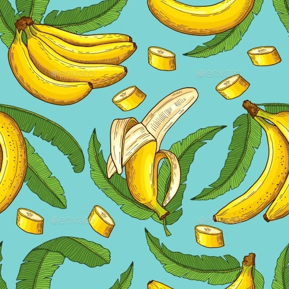 Seamless Pattern of Bananas - Backgrounds Decorative