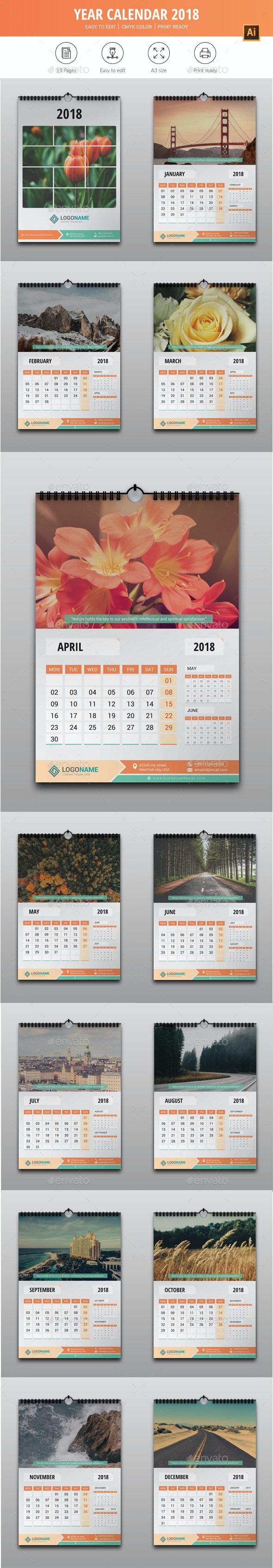 Year Calendar 2018 - Calendars Stationery